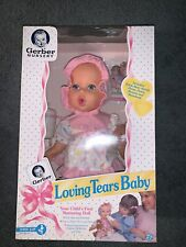 """1994 Gerber 15"""" Loving Tears Baby Doll, Bottle, Clothes, Bear, Storybook, New"""