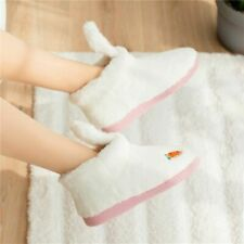 Womens Indoor Warm Slippers Fleece Short Ankle Boots Carrot Pattern Plush Shoes
