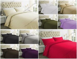 100% Egyptian Cotton Duvet Cover With Pillow Case 300 TC Bedding Set All Sizes