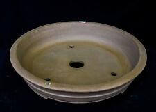 "Yixing White Sand Clay Unglazed 19.5""D Circle Ceramic Bonsai Pot, soil"