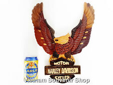 Hand Carved Wood Art Plaque - Flying Eagle Bird - Harley Davidson Cycles