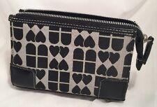 Modella White with Black Trim Hearts & Squares Cosmetic Bag Purse Handbag