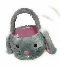 Happy Easter Gray White Bunny Basket Plush Rabbit Basket Handle Round Nwt