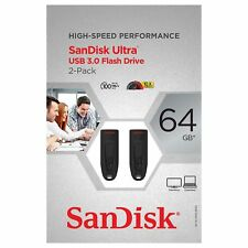 SanDisk Ultra 64GB USB 3.0 Flash Drive High-Speed Performance 2-Pack