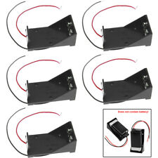 5Packs 2 Wires DC 9V Cell Volt Battery Storage Clip Holder Box Case Cover Black