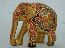 India Hand Lacquered Wood Elephant Statue in Gold & Red