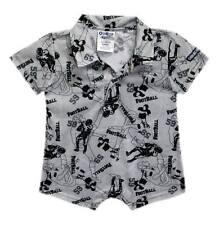 Oshkosh B'gosh Printed Collar Romper (Gray Football Mania) Size Newborn