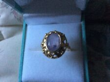 Vintage   18ct Yellow Gold & Amethyst Solitaire Ring Approx 3 ct UK Size O