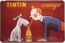 Tôle Plaque 20 x 30 TINTIN ORANGE limonade Publicité Tim + Milou chien Bar