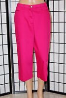 """TANJAY Women's Size 10 Pink Embellished Stretch Capri Cropped Pants Inseam 19"""""""