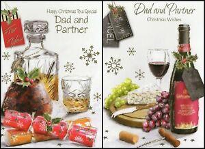 'DAD & PARTNER' CHRISTMAS GREETING CARD - MULTIPLE DESIGN'S - FREE P&P