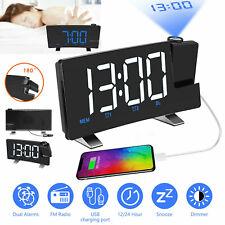 LED Digital Backlight Large Display Snooze Alarm Clock FM Radio Projection