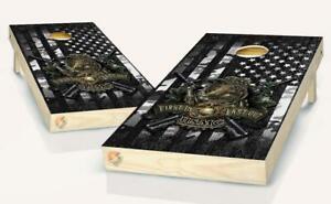 Black and White Flag  US Marine Bulldog  Cornhole Board Vinyl Wrap Laminated Set