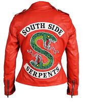 Women's Southside Serpents Riverdale Slim Fit Biker Genuine Red Leather Jacket