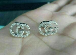 1.50Ct Round Cut VVS1 Diamond Gucci Double G Stud Earrings 14K White Gold Finish