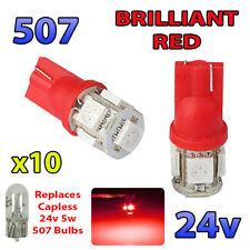 10 X 24v Rojo Bombillas Led Sin Tapa 507 501 Luz Lateral W5w T10 cuña de vehículos pesados, Hombre Volvo