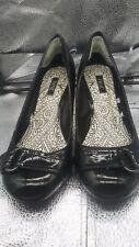 NEXT Black Patent Court Shoes, Block Heel, Buckle Detail, UK Size 6