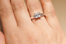 14K White Gold Finish Princess Cut Solitaire Engagement Ring 1.00 Ct.