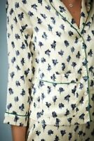 Topshop Kate Moss silky feel casual pyjama designer top blouse Cream blue floral