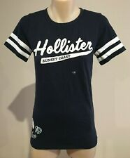 Abercrombie & Fitch HOLLISTER Womens Navy Blue Applique Logo T-SHIRT Top XS NEW