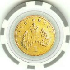 3 pc 3 colors 14 gram Five Pence poker chips samples set #71