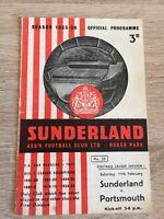 Sunderland v Portsmouth Football Programme 1955/56