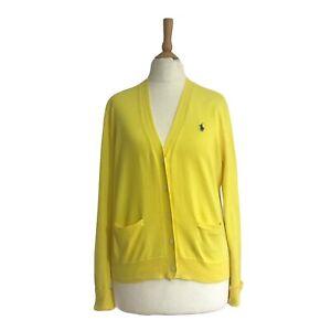 RALPH LAUREN Women's designer Yellow Fine Knit  Button Cardigan UK M  RRP £100