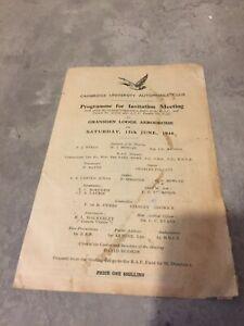 1946 CAMBRIDGE UNIVERSITY AUTOMOBILE CLUB RACE PROGRAMME GRANSDEN LODGE ERA ALTA
