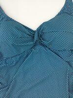 XL Prego Maternity Womens Dot Twist Tankini Navy Aqua Adjustable Straps Sides