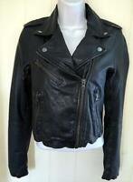 DOMA WOMENS BLACK SOFT LEATHER MOTORCYCLE JACKET - SIZE XS