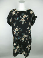 Forever 21 Women's sz M Polyester Floral Cuffed Sleeve Black Tunic Dress