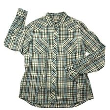 Vintage Tao's Plaid Western Long Sleeve Shirt Pearl Snaps Mens Size Large