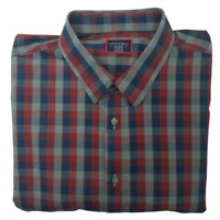 Untuckit Mens 2XL Wrinkle Free Pomerol Blue Gray Plaid Button Up Long Sleeve
