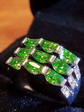 emerald green quartz white gold filled ladys ring size 9 us