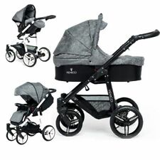 VENICCI 3 IN 1 TRAVEL SYSTEM SOFT EDITION DENIM GREY ON BLACK CHASSIS  BNIB