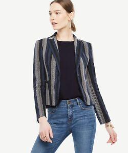 NWT ANN TAYLOR Blue Multi Stripe One Button Front Blazer Jacket Size 6