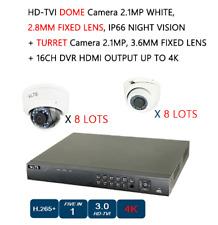 HD-TVI CAMERA 2.1 MP 8 DOME + 8 TURRET + 16 CHANNEL DVR HDMI CCTV SECURITY NIGHT