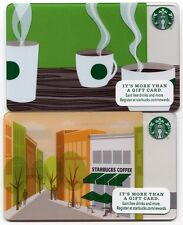 NEW 2012 - Seattle Storefront Cafe & Steaming Coffee Cups  Starbucks Cards