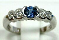 Blue Sapphire Ring 18K White Gold VS Gemstones GIA Appraised Heirloom $4,286