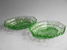 PAIR AUSTRALIAN GREEN DEPRESSION GLASS DISHES c1930