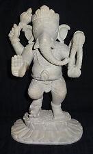 "8.5"" White Marble God Ganpati bappa Prosperity Ganesha Growth Religious Decor"