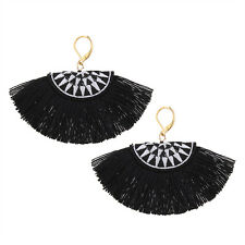 Anthropologie Summer Watermelon Tassel Fringe Earrings Kiwi Black White Fabric