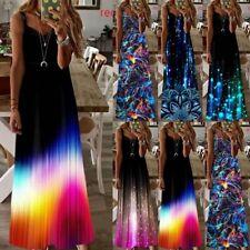 Women Summer Casual V Neck Maxi Sleeveless Floral Slim Club Loose Long Dress