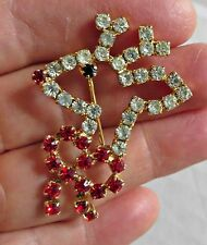 """Vtg Christmas """"Rudolph The Red Nose"""" Deer  Reindeer Head Bow Pin Brooch"""