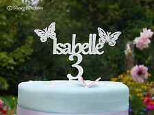 Personalised Name Birthday Cake Topper Decoration With Butterflies & Age (White)