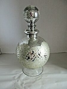 Vintage Silver Mirrored Mercury Glass Gold Veins JDisplay Piece 11 inches tall