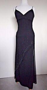 Candy Rocket Black Knit Spaghetti Strap Long Dress Asymetrical Overlay sz Jr L