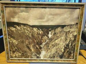 1920'S FRAMED PHOTO...BEAUTIFUL YELLOWSTONE CANYON & FALLS by SCHLECHTEN MONTANA