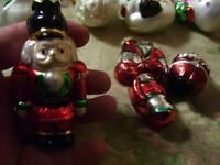 10~ Small Feather Tree Figural Christmas Glass Ornaments Santa, Snowmen