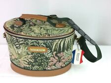 Vtg American Tourister Leather Floral Tapestry Makeup Train Case Luggage Bag